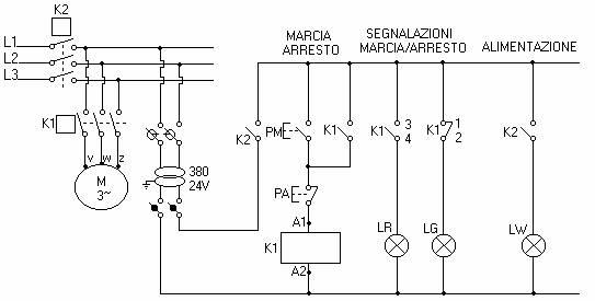 Schema Elettrico Marcia Arresto : Relazione di impianti quot impianto per l accensione e lo