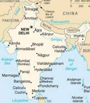 Cartina Muta Del Subcontinente Indiano.India Il Mondo Indiano